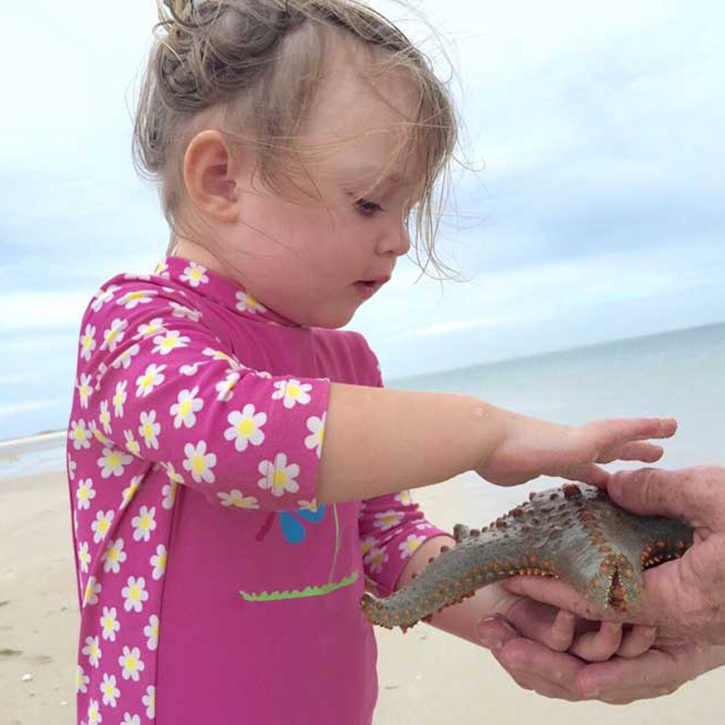 Little girl touching a starfish in Mozambique