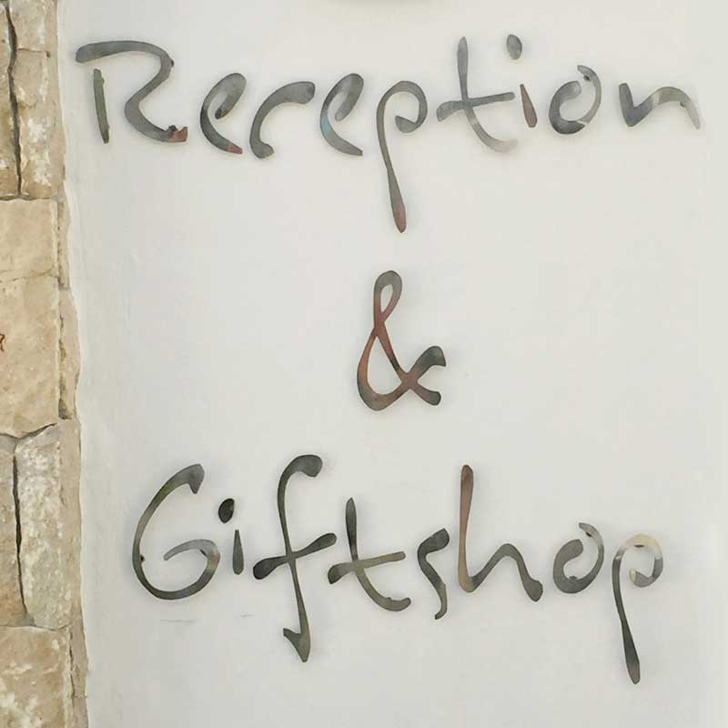 reception and giftshop at the main villa